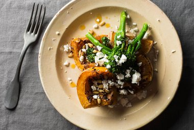 Butternut Pumpkin with Broccoli, Feta and Pine Nuts