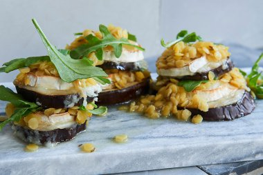 Lentil, Eggplant and Goat's Cheese Towers