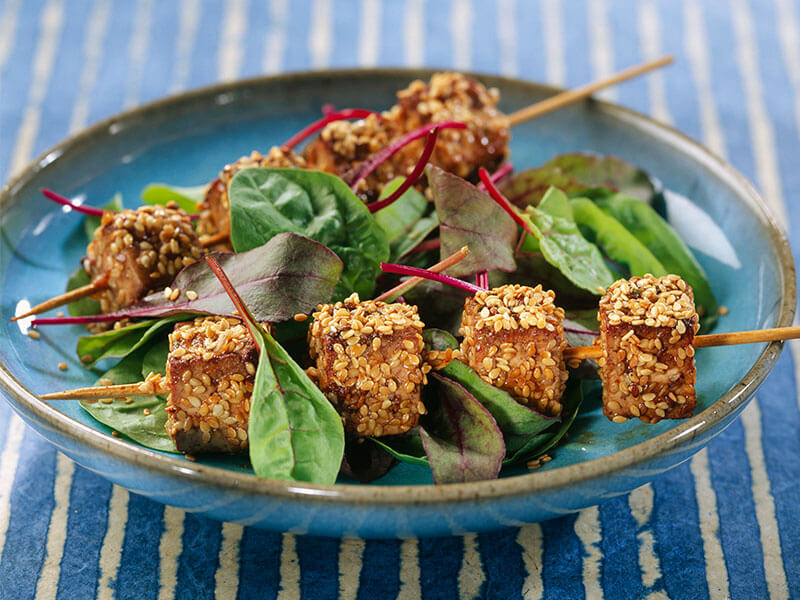 Three quick and easy vegetarian recipes the house of wellness marinated tofu and sesame seed brochettes recipe forumfinder Choice Image