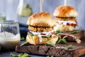 Veggie and Haloumi Burgers with Tzatziki recipe