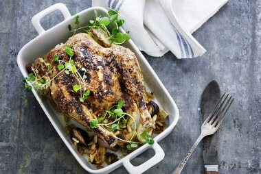 Roast Chicken with Pine Nuts and Watercress