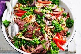lamb halloumi kale salad